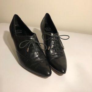Circa Joan & David Black Leather Granny Heels